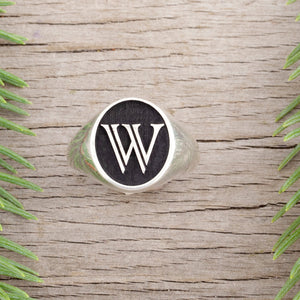 Initial signet ring - enter your initial - choose your font - personalized rings