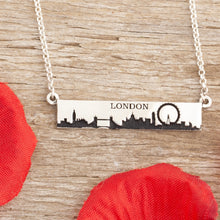Load image into Gallery viewer, travel necklace city scape with travel quote sterling silver travel jewelry city scene necklace personalize travel jewelry