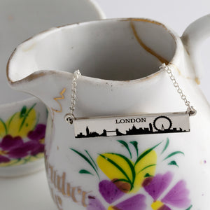 Custom City Skyline Necklace - Bar - Personalize with your choice of city skyline