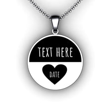 Load image into Gallery viewer, Love Heart Anniversary Necklace - Round - Personalize with Your Name and Wedding Date