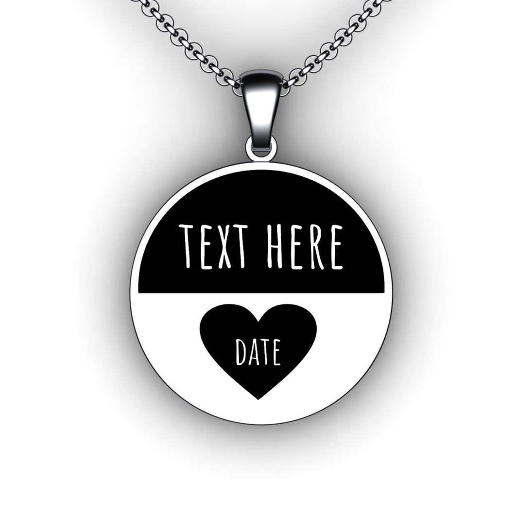 Love Heart Anniversary Necklace - Round - Personalize with Your Name and Wedding Date
