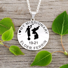 Load image into Gallery viewer, Personalized round Mission pendant with Moroni and Country or state - design your own necklace - custom round text formatted  with Country or state  and Moroni pendant