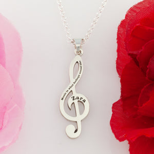 Treble clef necklace in sterling silver or 14k yellow gold - music necklace
