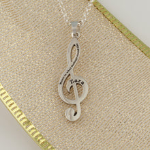 Load image into Gallery viewer, Treble clef necklace in sterling silver or 14k yellow gold - music necklace