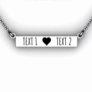 Love Bar Necklace with Cutout Heart  - Personalize with Your Names