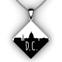 Load image into Gallery viewer, Custom City Skyline Necklace - Square Diamond - Personalize with your choice of city skyline