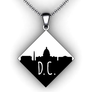 Custom City Skyline Necklace - Square Diamond - Personalize with your choice of city skyline