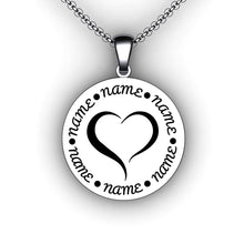 Load image into Gallery viewer, Heart Family Name Necklace  - Round - Personalize with Your Family Names