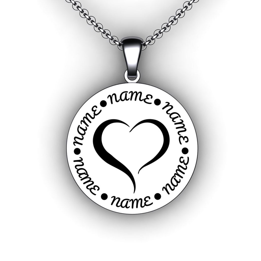 Heart Family Name Necklace  - Round - Personalize with Your Family Names