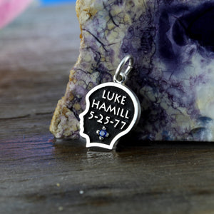 custom baby boy silhouette charm with name, birth date and birth stone