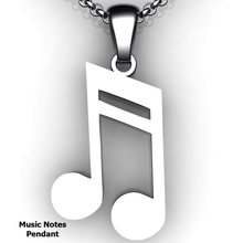 Load image into Gallery viewer, note pendant note necklace double note custom design music jewelry customized jewelry