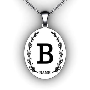 Initial/Name Necklace - Oval - Personalize with your Initial and Name - Pre-Designed Necklace