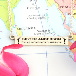 sister missionary - LDS jewelry - bar necklace personalized - lds missionary gift - lds missionary gift ideas - missionary gift ideas