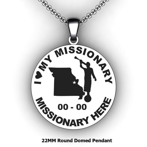 I Love My Missionary Round Domed Pendant with Mission Country or State