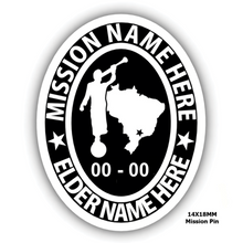 Load image into Gallery viewer, Mission Oval Embossed Pin with Moroni and Mission Country or State - Personalize with your Missionary name and Mission