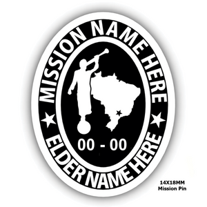 Mission Oval Embossed Pin with Moroni and Mission Country or State - Personalize with your Missionary name and Mission
