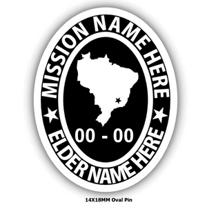 Mission Oval Embossed Pin with Mission Country or State - Personalize with your Missionary name and Mission