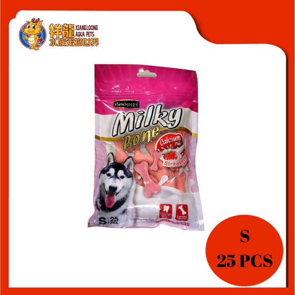 GOODIES CALCIUM MILKY BONE-STRAWBERRY S 25PCS
