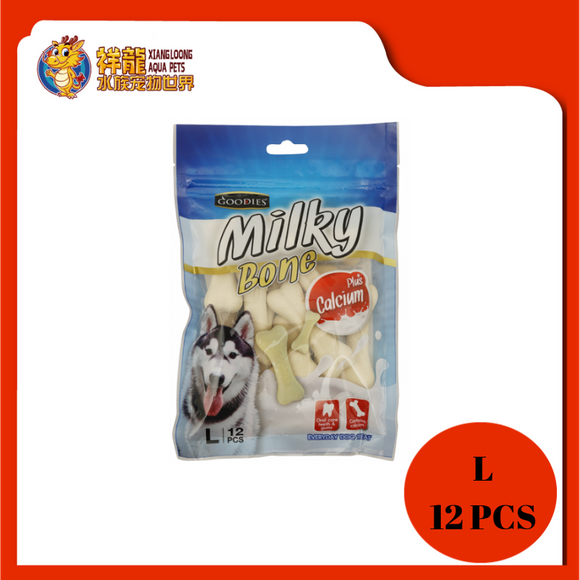 GOODIES CALCIUM MILKY BONE-MILK L 12PCS