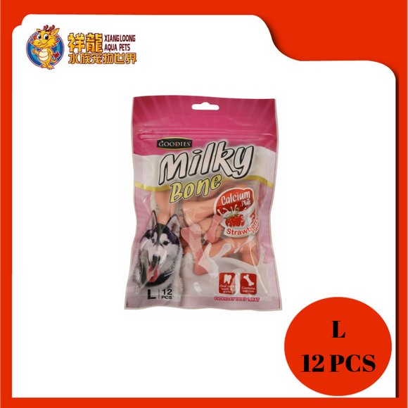 GOODIES CALCIUM MILKY BONE-STRAWBERRY L 12PCS