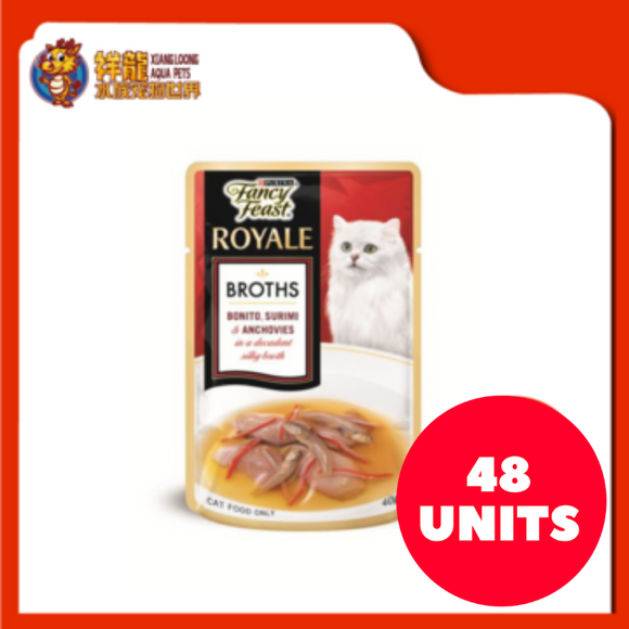 FANCY FEAST BROTHS BONITO , SURIMI & ANCHOVIES 40G (48XRM2.28)