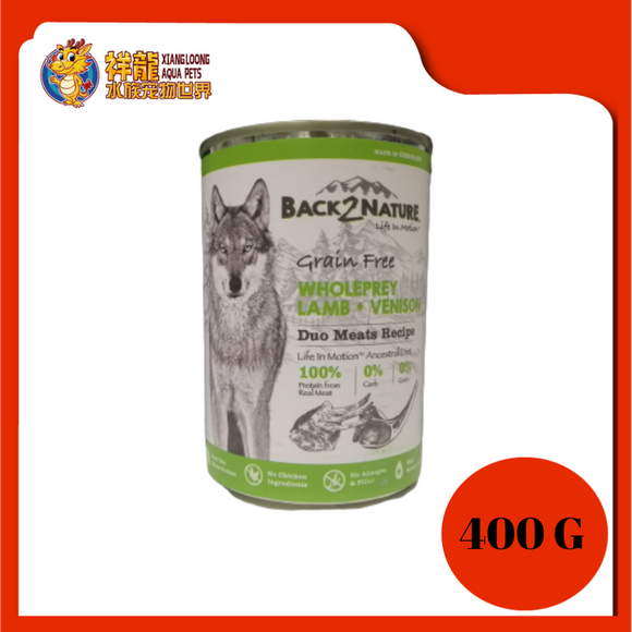 BACK2NATURE GRAIN FREE DOG CAN FOOD (LAMB + VENISON) 400G