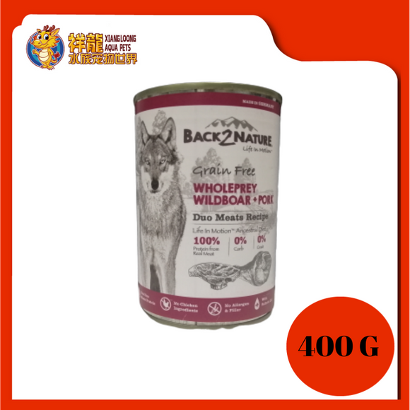 BACK2NATURE GRAIN FREE DOG CAN FOOD (WILDBOAR + PORK) 400G