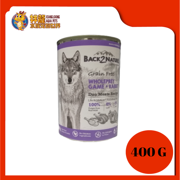 BACK2NATURE GRAIN FREE DOG CAN FOOD (GAME + RABBIT) 400G