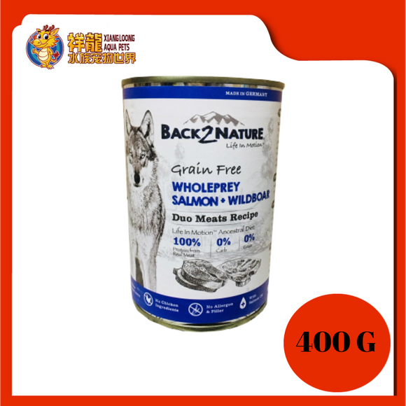 BACK2NATURE GRAIN FREE DOG CAN FOOD (SALMON + WILDBOAR) 400G