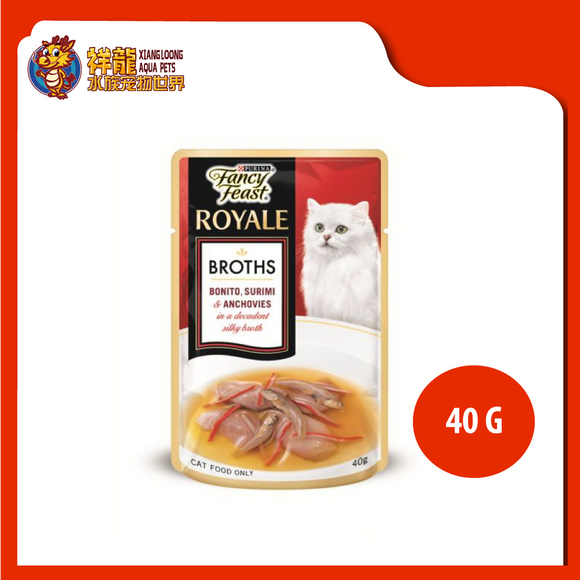 FANCY FEAST BROTHS BONITO , SURIMI & ANCHOVIES 40G