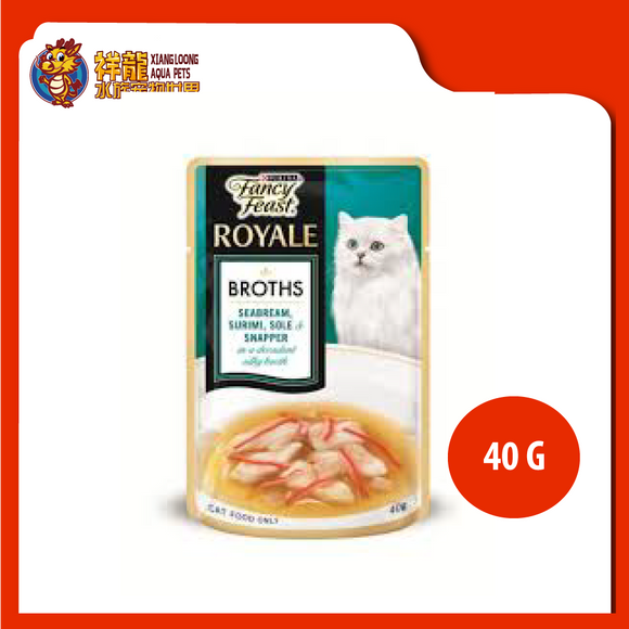 FANCY FEAST BROTHS SEABREAM , SURIMI , SOLE & SNAPPER 40G
