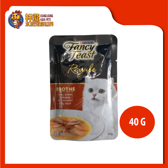 FANCY FEAST BROTHS TUNA , SURIMI & PRAWNS 40G
