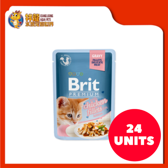 BRIT PREMIUM POUCH GRAVY KITTEN CHICKEN FILLETS 85G (24XRM1.83)