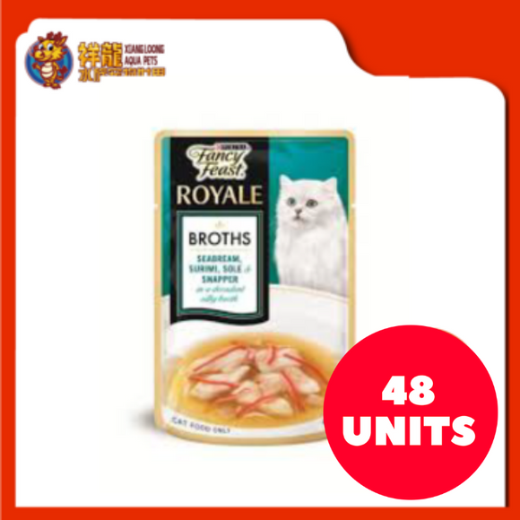 FANCY FEAST BROTHS SEABREAM , SURIMI , SOLE & SNAPPER 40G (48XRM2.28)