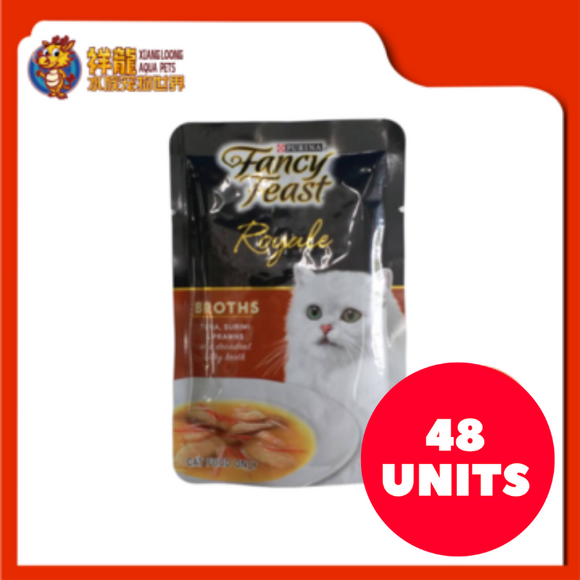 FANCY FEAST BROTHS TUNA , SURIMI & PRAWNS 40G (48XRM2.28)