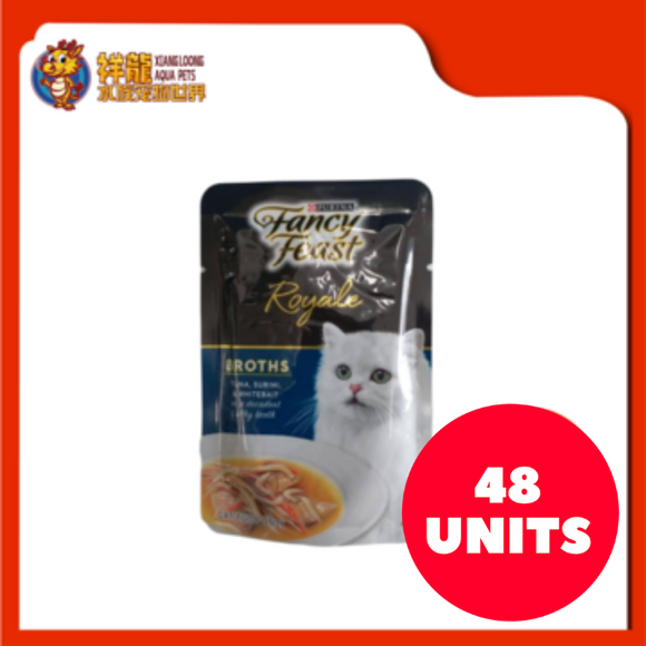 FANCY FEAST BROTHS TUNA , SURIMI & WHITEBAIT 40G (48XRM2.28)