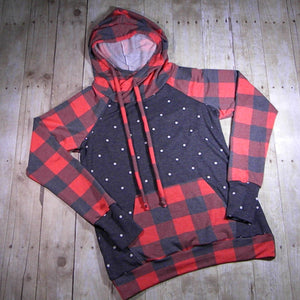 Red Buffalo Plaid & Charcoal Polka Dots Tami Hoodie Size 12