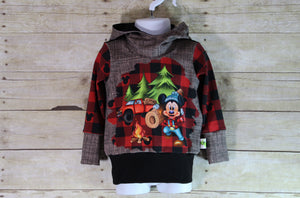 Lumber Mouse Buffalo Plaid Grow with Me Hoodie Size S {9 months - 2T}