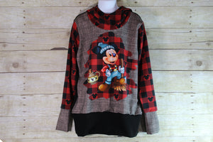 Lumber Mouse Buffalo Plaid Grow with Me Hoodie Size L {7-12 youth}
