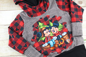 Lumber Mouse Buffalo Plaid Grow with Me Hoodie Size M {3T - 6 youth}