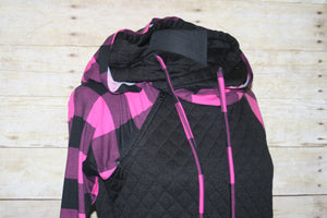 Pink Buffalo Plaid & Black Quilted Tami Hoodie Size 8