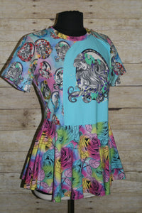 Mermaid Princess Portrait Sweetheart Peplum Tee Size Large Petite