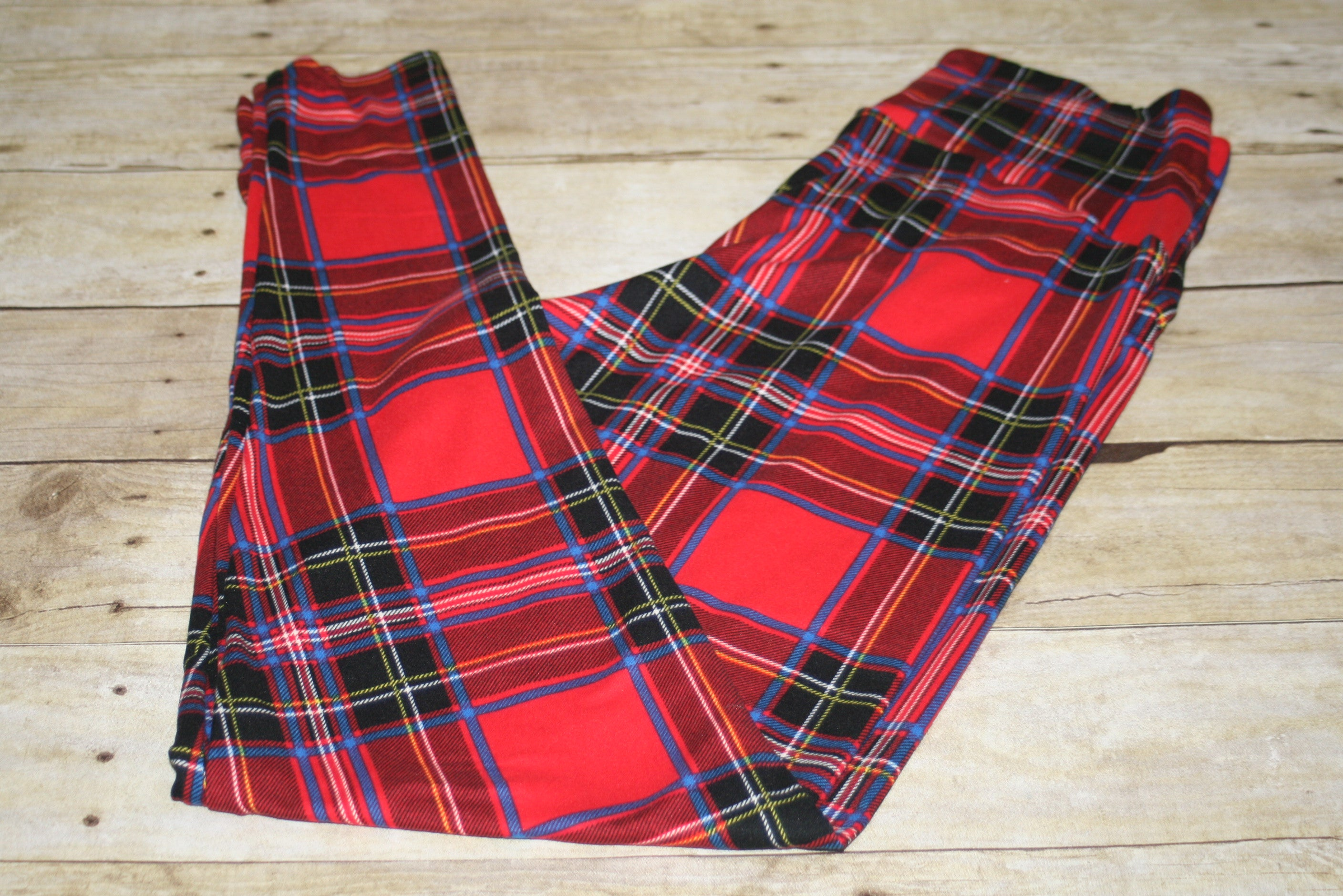 Tartan Plaid Contour Waistband Leggings Size XL