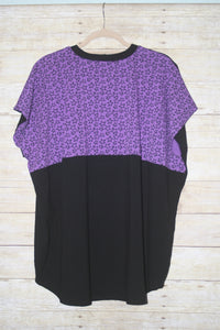 Solid Black with Purple Stars Color Blocked Sporty Piko Size Extra-Large