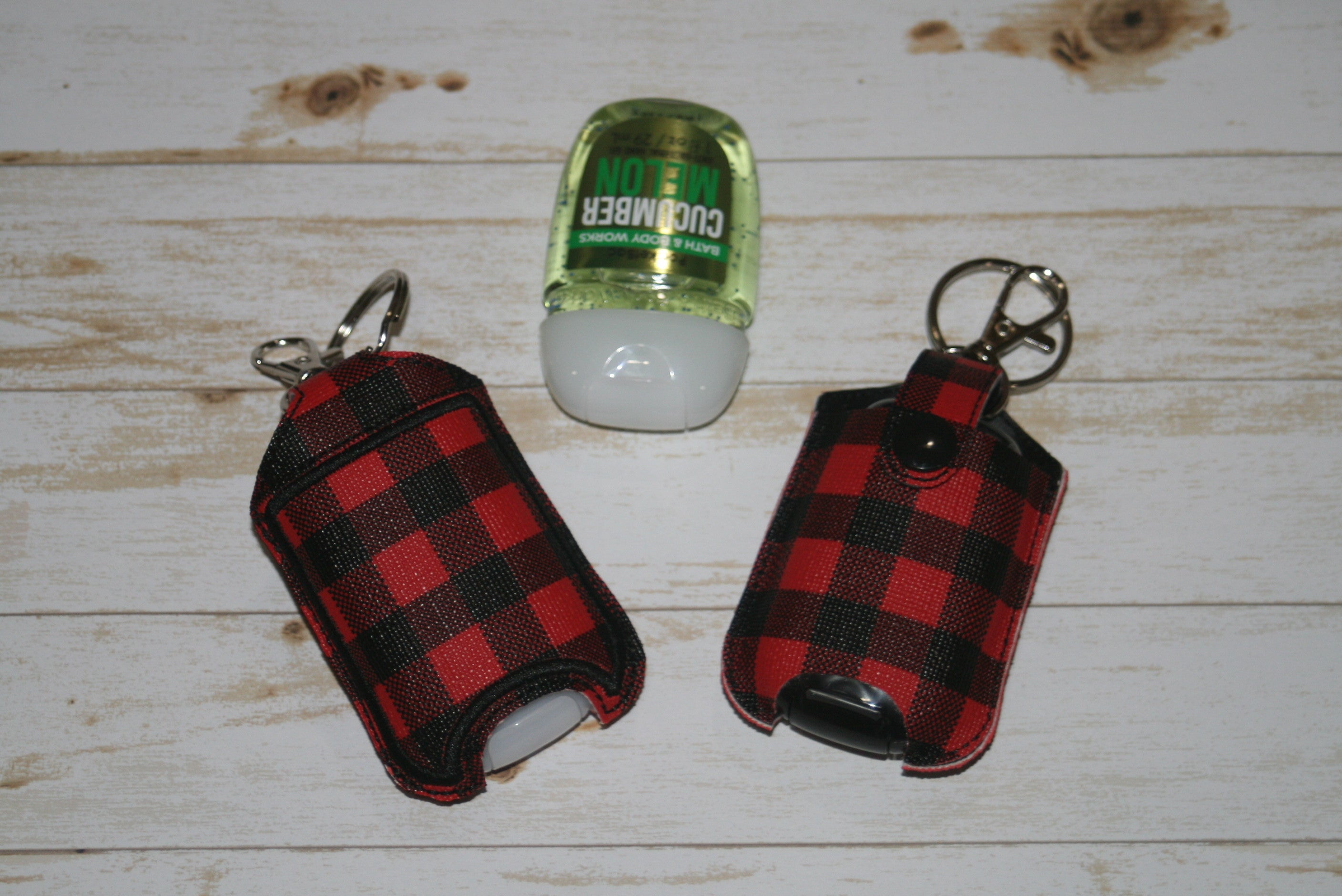 Red & Black Buffalo Plaid Hand Sanitizer Holder Keychain