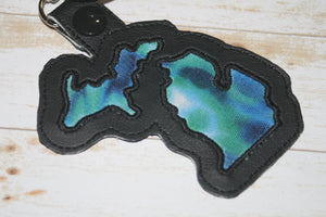 Northern Lights Michigan Shaped Key Chain