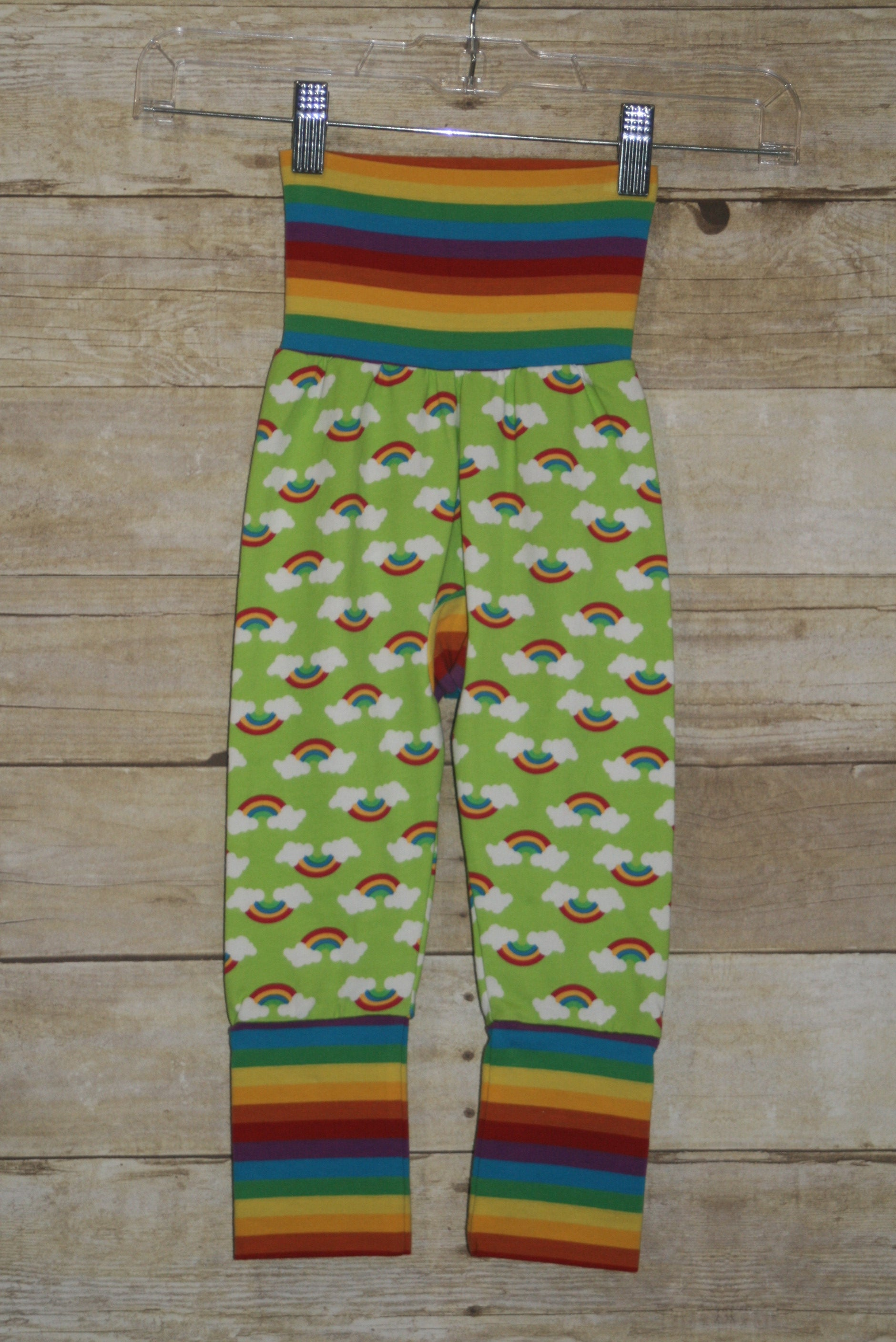 Rainbows on Lime Monster Bunz Grow with me Pants Luxe Large {1-4 years}