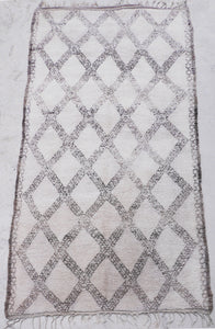 Handmade vintage Moroccan berber rug from the Beni Ourain region sold by Eco from the past - Coffee & Cream
