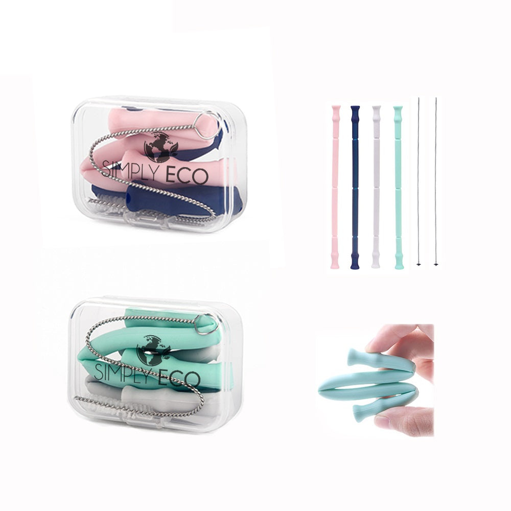 Reusable Silicone Collapsible Straws (4 Silicone Straws+ 2 Cases)