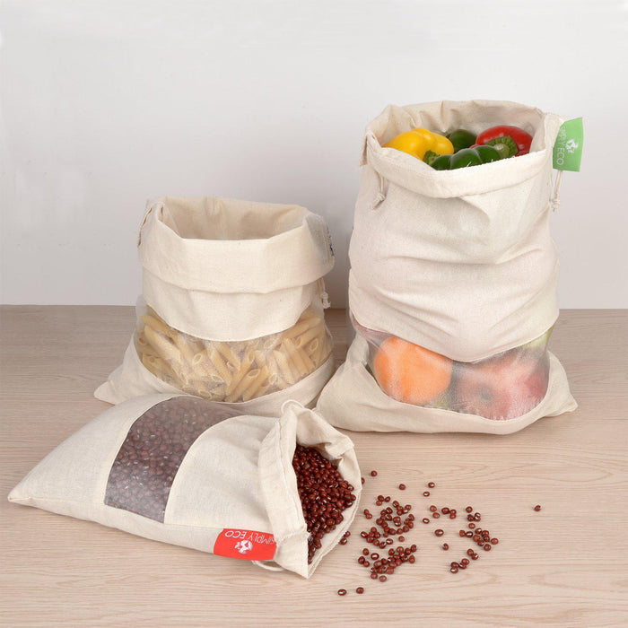Cotton Reusable produce bags, Mesh with drawstring for fruits and veggies. 7 pcs. set
